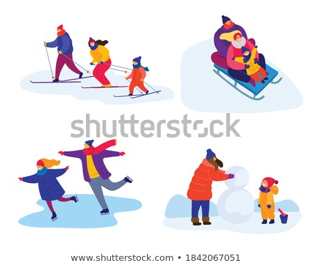 Winter season leisure time colorful illustrations set Stock photo © Decorwithme