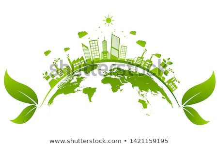 World Environment banner of green earth globe Stock photo © cienpies