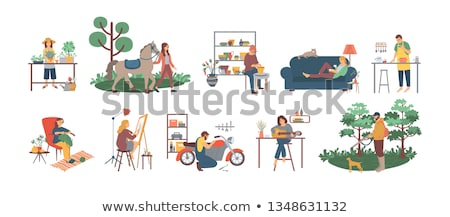 Knitting Hobby of Woman at Home, Pastime Character Stock photo © robuart