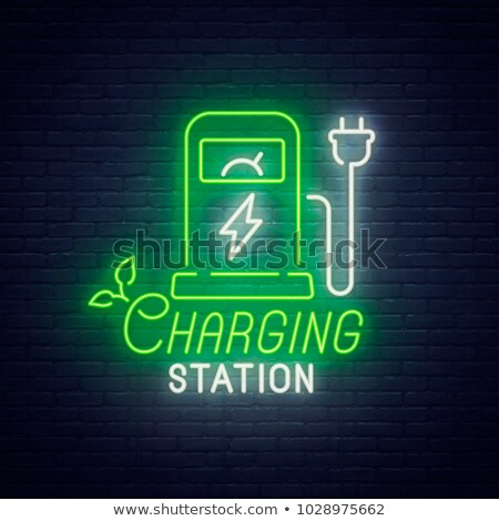 Green Battery Neon Sign Stock photo © Anna_leni