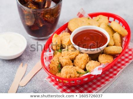 Kurczaka popcorn czerwony fast food koszyka ketchup Zdjęcia stock © DenisMArt