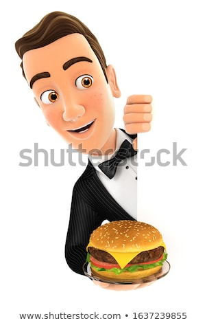 3d waiter behind left wall and holding plate with hamburger Stock photo © 3dmask