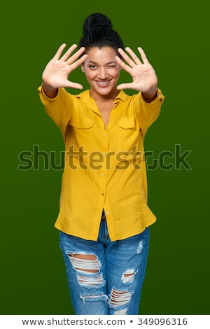 happy woman showing ten fingers of two hands Stock photo © dolgachov