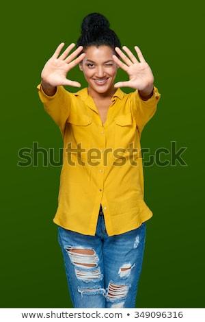 Feliz mulher dez dedos dois Foto stock © dolgachov