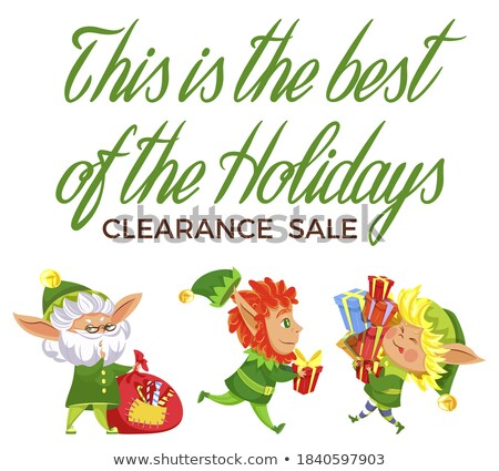 Shopping Poster with Elf Xmas Character Vector Stock photo © robuart