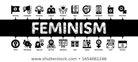 Feminism Woman Power Minimal Infographic Banner Vector Stock photo © pikepicture