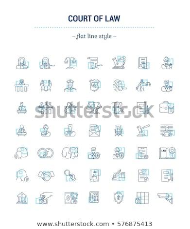 sąd · młotek · prawa · wyrok · ikona · wektora - zdjęcia stock © pikepicture
