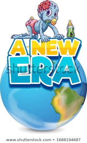 Doopvont ontwerp woord nieuwe tijdperk zombie Stockfoto © bluering