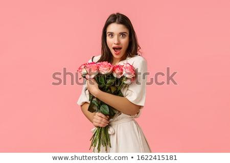 девушки закрывается красивая девушка долго синий платье Сток-фото © Oksvik