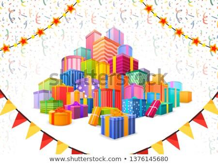 Nagy halom fényes színes ajándékok léggömbök Stock fotó © evgeny89