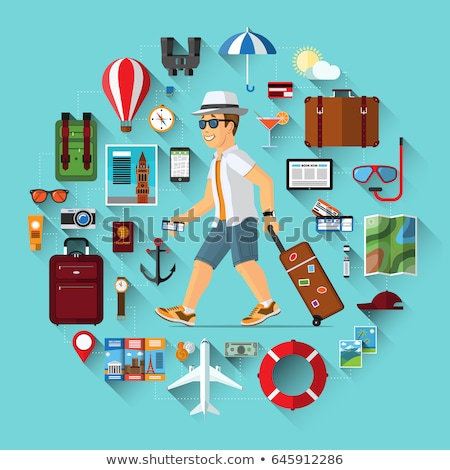 Cartoon set of icons of tourism, air travel, summer vacation planning, adventure Stock photo © natali_brill