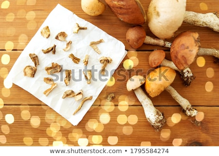 dried mushrooms on baking paper Stock photo © dolgachov