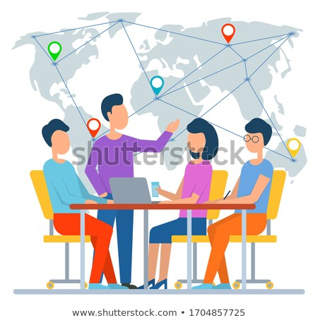 Worker Discussing Map with Locations, World Vector Stock photo © robuart