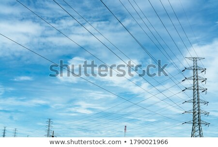 Pole high-tension wire on background blue sky Stock photo © RuslanOmega