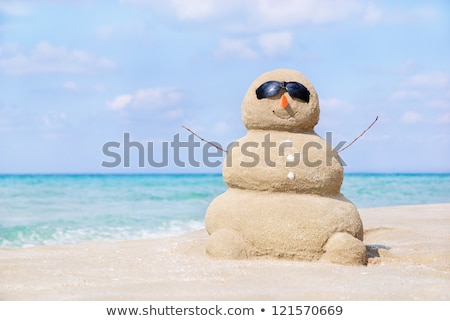 Happy Snowman Enjoying The Sun & The Sea Stock photo © KonArt