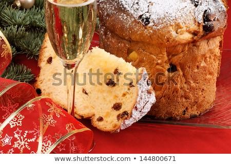 christmas · Italiaans · fruitcake · geserveerd · Blauw · glas - stockfoto © aladin66