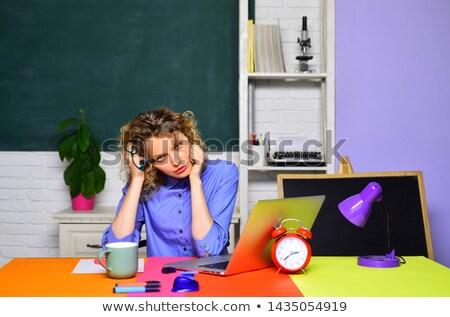 entediado · feminino · estudante · lição · de · casa · branco · mão - foto stock © photography33