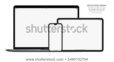 Comprimido telefone preto isolado branco negócio Foto stock © cla78
