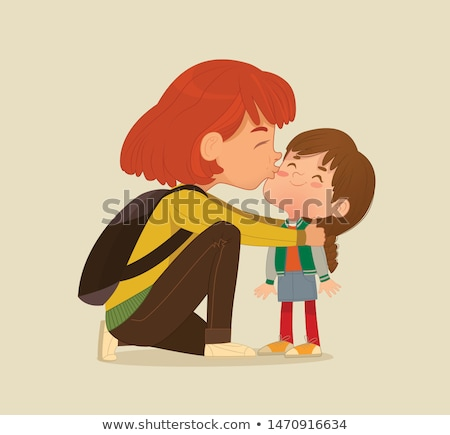 ストックフォト: 母親 · キス · 子 · 小さな · 女性