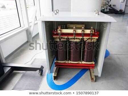Stock fotó: Elektromos · transzformátor · kék · ég · fehér · felhők · technológia