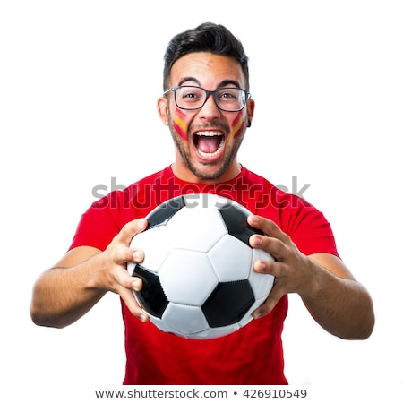 Male Spanish soccer supporter holding ball Stock photo © photography33