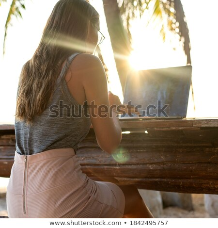 Woman using her laptop on her veranda Stock photo © photography33
