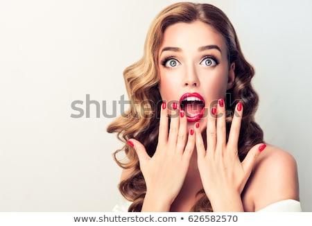 genç · sarışın · kadın · çığlık · atan · kız · yüz - stok fotoğraf © feedough