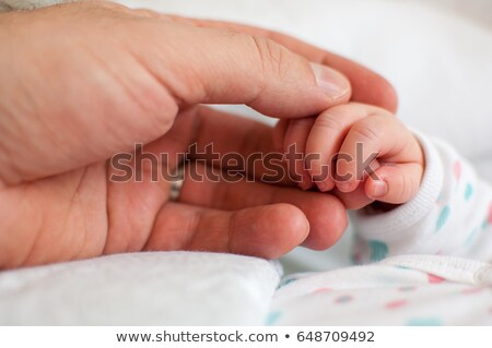 Baby Girl Hand Holding Rough Finger of Dad Stock photo © feverpitch