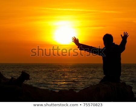 Férfi bámul horizont sziluett sziluett apa Stock fotó © photography33