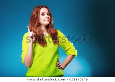 Mujer dedo cara signo azul jóvenes Foto stock © photography33