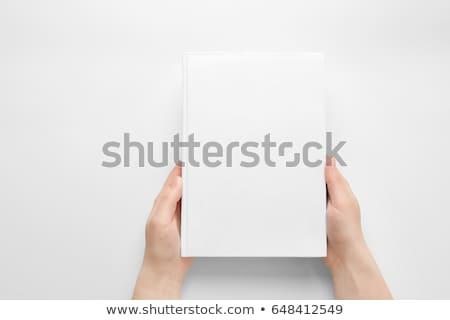 zárva · könyv · kéz · izolált · fehér · üzlet - stock fotó © Taigi