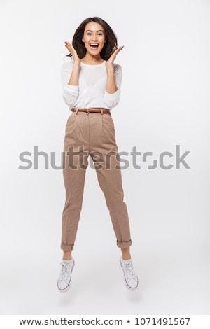 Animado asiático mulher sucesso Foto stock © szefei
