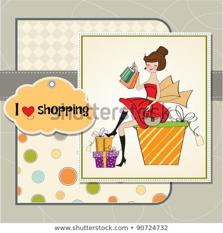 Güzel genç kadın mutlu alışveriş dizayn doğum günü Stok fotoğraf © balasoiu