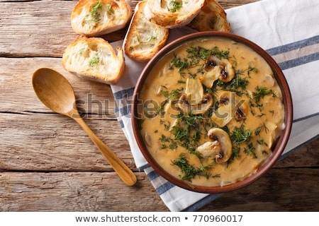 setas · sopa · tazón · mesa · alimentos · verde - foto stock © m-studio