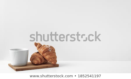 croissant · isolado · beber · prato · cor · café · da · manhã - foto stock © maisicon