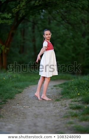 Kız jimnastikçi açık havada açık portre Stok fotoğraf © zastavkin
