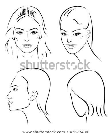 four women outlined faces vector stock photo © arlatis