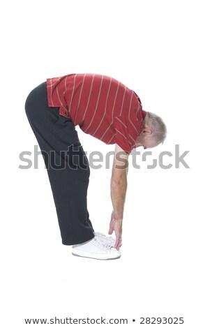 Fitt férfi megérint lábujjak jóga belső Stock fotó © photography33
