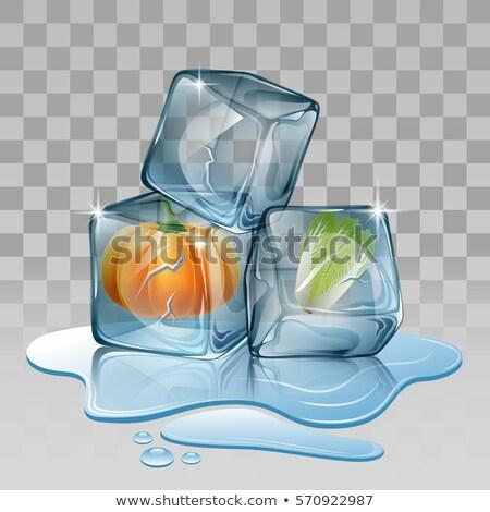 cubo · de · hielo · primer · plano · hielo · cuadro · azul - foto stock © givaga