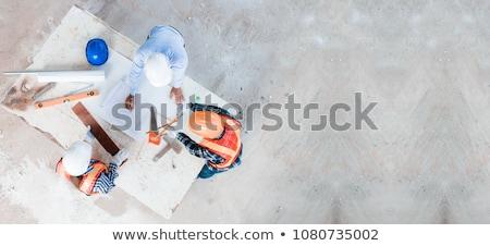 építkezés · munka · deszkák · fa · ház · kék - stock fotó © photography33