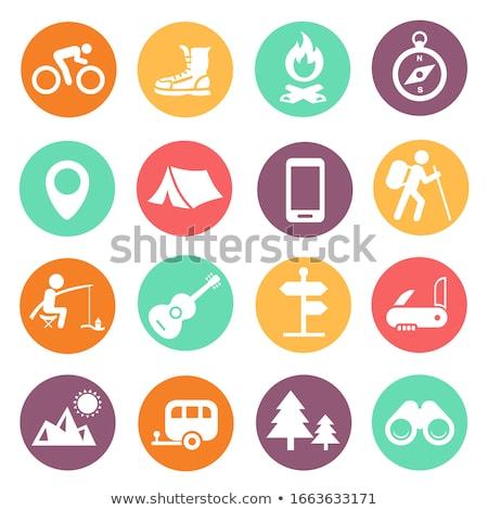Camping iconos color círculos aislado blanco Foto stock © lkeskinen