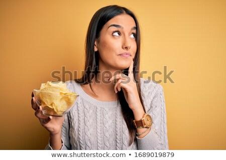 kobieta · jedzenie · kwiat · zdrowia · młodych · biały - zdjęcia stock © photography33