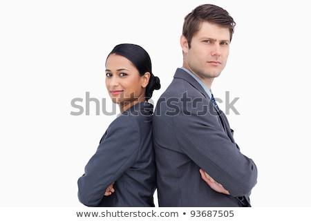 Ernstig permanente Maakt een reservekopie witte man Stockfoto © wavebreak_media