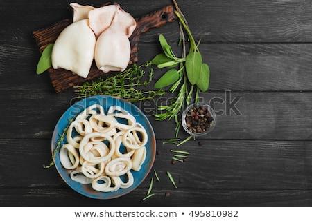Tintahal gyűrűk étel hal vacsora saláta Stock fotó © M-studio