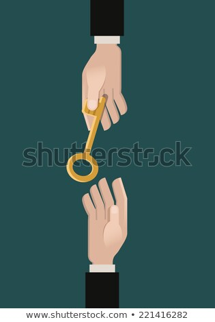 Stok fotoğraf: Hand Giving A Golden Key To Another Hand