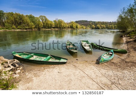Five boats on the river bank Stock photo © deymos