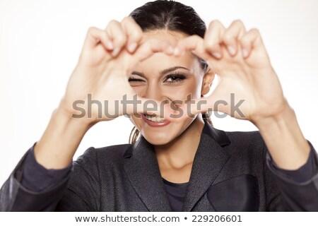 gelukkig · vrouw · frame · vorm · hand - stockfoto © pablocalvog