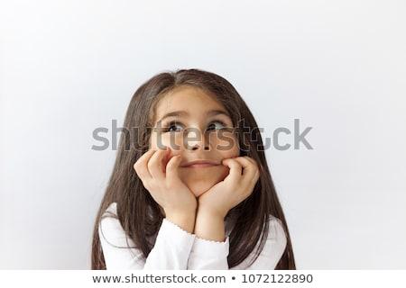 Cute kid Denken nachschlagen isoliert weiß Stock foto © get4net