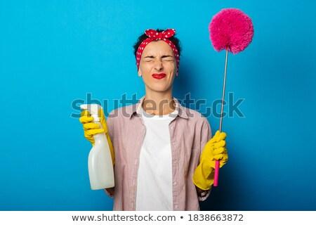 Portré fáradt fiatal nő tart spray üveg Stock fotó © wavebreak_media