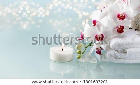 Stockfoto: Brandend · kaarsen · orchidee · bloemen · Blauw · tabel